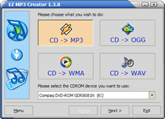 Convert audio CD to MP3, Ogg, WMA & Wav files